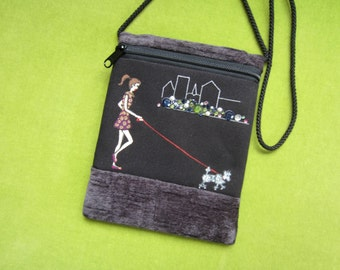 "Original One of a Kind Hand Painting on Zippered Pouch - ""Girl Walking Dog"""