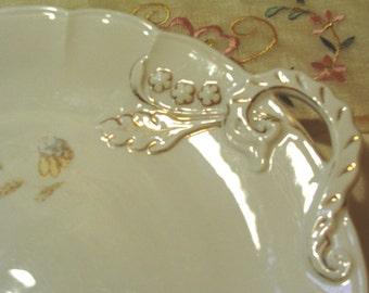 CHARMING - Vintage Two Handled Porcelain Platter - Large - Ornate - Floral Pattern - Gold Gilding - 1950 Era