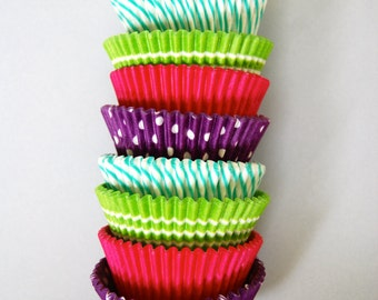 Neon Girls Stack of Cupcake Liners (40)