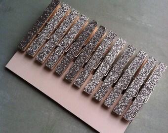 4 Dozen Silver Glitter Clothespins