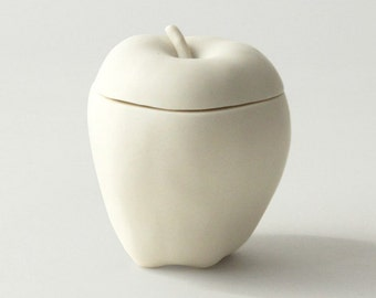 Apple Trinket Box in White