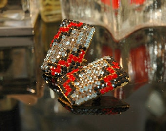 Crazy 80s Zig Zag Earrings, Unsigned Sonia deMaria Italy?, Huge Black, Lt Blue, Red, Smoky Crystal Encrusted Rhinestones, Mint Condition