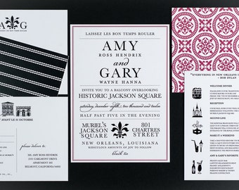 Wedding Invitation, Destination New Orleans Wedding Collection As Featured  On Borrowed And Blue