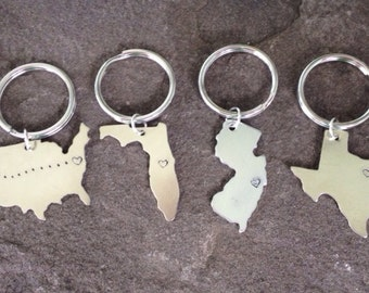 Home state USA location keychain east coast west coast every US state available