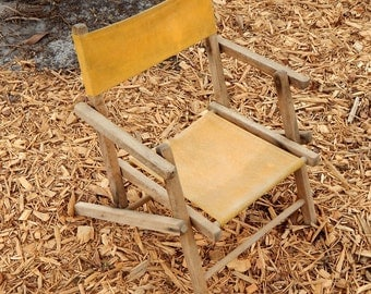 Childs Beach Chair Collapsible  Wood and Yellow Canvas  Vintage Shabby Chic