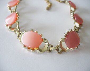 Lucite Moonglow Necklace Pink and Goldtone 1950's Choker Style