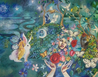 Fantasy Painting, Visionary Art, Fairy Painting, Magical Realism, Surreal Painting,  40 x 29 x 1.5 inches by Romany Steele