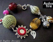 Boho chic beaded charm statement bracelet CLEARANCE