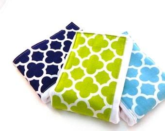 Boy Burp Cloths - Navy Aqua Lime Quatrefoil- Set of 3 // Cotton Burp Cloth // Diaper Burp Cloth