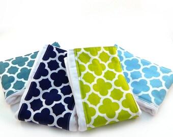 Burp Cloth / Quatrefoil  Geometric Burp Cloths - Your Choice- Set of 4, Baby Clothes // Cotton Diaper Burp Cloths // Boys or Girl Burp Cloth