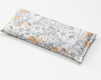 Soothing Eye Pillow, Organic Lavender Flaxseed Cold Pack, Unique Teacher Gift, Gray and Peach Floral