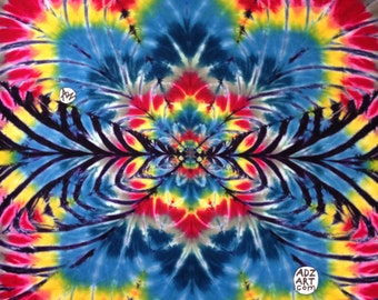 """Hand-Dyed Tapestry """"Fractal"""" Blue red, (5'6""""W x 3'8""""H) Rayon, Original Tie-Dye"""