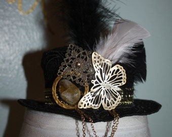 Black Butterfly Womens Steampunk Mini Top Hat