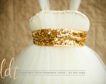 Ivory with Gold Sequin Sash - Flower Girl Tutu Dress