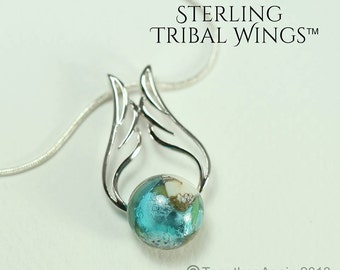STERLING Tribal Wings™  in Reflections™Memorial Jewelry Handmade Memory Glass Lampwork Bead with your pet's remains, hair. pet memorial