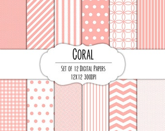 Coral Pink Digital Scrapbook Paper 12x12 Pack - Set of 12 - Polka Dots, Chevron, Gingham - Instant Download - Item# 8066