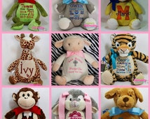 Personalized Baby Gift New Baby Birth Announcement Monogrammed Stuffed Animal  Toy & Keepsake