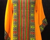 1960's groovy dashiki minidress with butterfly/angel sleeves size SMALL/MEDIUM