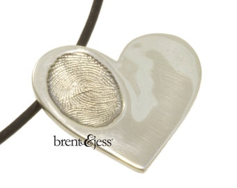Sterling Silver Custom Handcrafted Children's Fingerprint Heart Pendant --one print