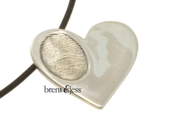Sterling Silver Custom Handcrafted Children's Fingerprint Heart Pendant --one print