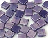 10mm  Satiny Purple Square Tile Czech Glass Beads - 15