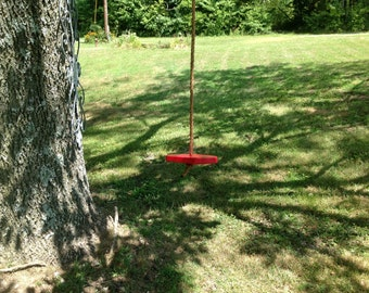 Childs single rope tree swing children adult handcrafted wood tree swing Bright Red