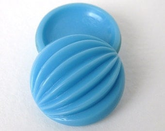 Vintage Glass Cabochon Sky Blue Grooved Melon Turquoise Round 24mm gcb0956 (2)