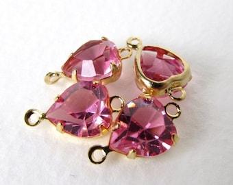 Vintage Swarovski Rose Pink Heart Rhinestone Crystal Bead Drop Connector vgb0774 (4)