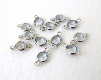 Vintage Bead Drop Channel Set Crystal Acrylic Connector Charm Silver 4mm vpb0149 (15)