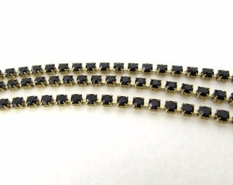 Vintage Rhinestone Chain Jet Black Swarovski Crystal Brass Prong Setting 2.5mm chn0127 (1 foot)