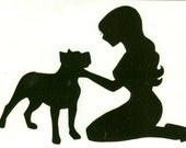 Pitbull and Pin Up Silhouette, Black Vinyl Decal