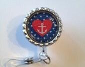 Retractable Id Badge Reel, Bottle Cap Id Holder, Id Reel Name Badge Holder, Nautical Badge Reel, Nautical, Anchor,Anchor Badge Reel, Id Reel