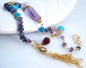 Gold Amethyst Bracelet Gemstone Tassel Bracelet