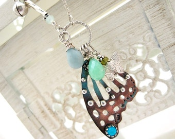 Butterfly Wing Charm Necklace Sterling Silver Jewelry Gemstone Vessonite Turquoise Amazonite Chrysoprase