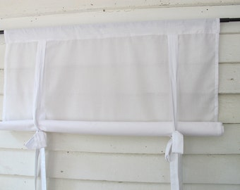 White Cotton 36 Inch Long Window Shade Stagecoach Off White Roll Up Swedish Blind