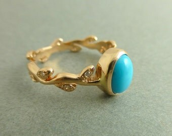 Turquoise engagement ring.  Leaf engagement ring with Turquoise.