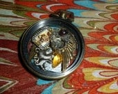Altered Art 2 Sided Pocket Watch Necklace  / Watch Parts and Gears /Lion Watch faces