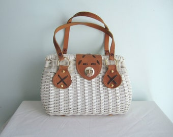 Vintage White Wicker Handbag with Leather Handles . Carole Joanne . Circa 1970's