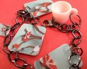 FREE SHIPPING - cherry blossom upcycled starbucks bracelet
