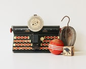 Dial and Type - Vintage Tin Children's Typewriter - Tin Litho - Toy - Home Decor - Black - Red - Kids - Photo Prop - Office - Industrial - becaruns