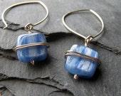 SALE - Free Shipping - Silver Kyanite Wrap Earrings