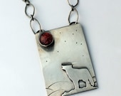 Howling at the Harvest Moon, Sterling Silver Wolf Necklace