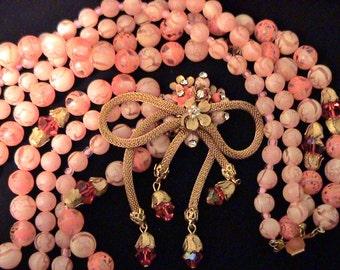 Vintage Light Orange Beaded Necklace, w Gorgeous Mesh Centerpiece Floral Clasp