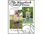 DIY PDF Sewing Pattern and Tutorial - Racerback Dress for Girls - Sizes 6M through 10
