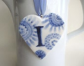 Sale - I - Monogram - Hand painted porcelain  Heart -  Blue and white Delftware - Dutch Personalized Gift / ornament