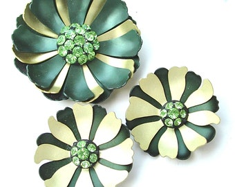 Vintage Metallic Flower Brooch Jewelry Jewelry Set Forest Green Rhinestone Jewelry