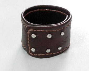 Stud Men Leather Cuff Leather Bracelet Cuff with Hand Stitched