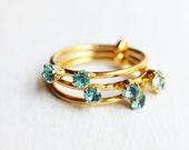 Blue Crystal Ring, Crystal Ring, Blue Ring, Stacking Ring, Size 4 Ring, Gold Band Ring, Band Ring