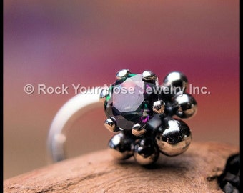 Nose Stud Mystic Topaz 3mm Claw Setting with Soldered Handmade Embellishments - CUSTOMIZE