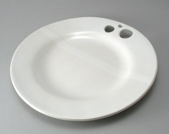 Pottery Serving Plate-Slab Built-Circle Pattern-Classic White Glaze-Tableware-Round-Oven and Dishwasher Safe-Ready to Ship